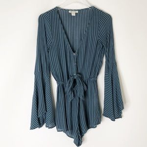 Billabong keyhole long sleeved striped romper